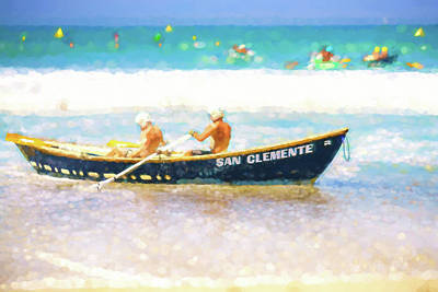 Clemente Digital Art - San Clemente Lifeboat Race Watercolor by Scott Campbell