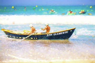 Digital Art - San Clemente Lifeboat Race Watercolor by Scott Campbell