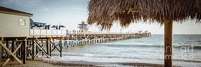 San Clemente Beach Photograph - San Clemente Pier And Tiki Umbrella Retro Panorama by Paul Velgos