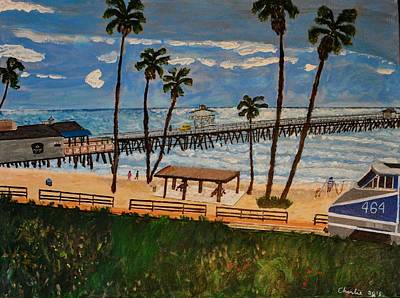 San Clemente Pier And Train Art Print