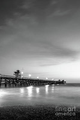 San Clemente Beach Photograph - San Clemente Pier At Night Black And White Photo by Paul Velgos