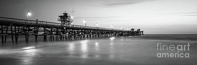 San Clemente Beach Photograph - San Clemente Pier Black And White Panorama Photo by Paul Velgos