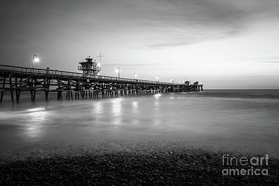 San Clemente Beach Photograph - San Clemente Pier Black And White Photo by Paul Velgos