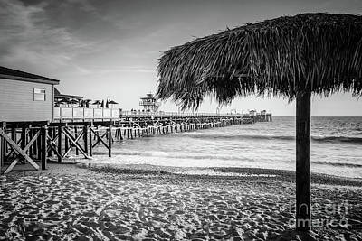 San Clemente Photograph - San Clemente Tiki Umbrella Black And White Photo by Paul Velgos