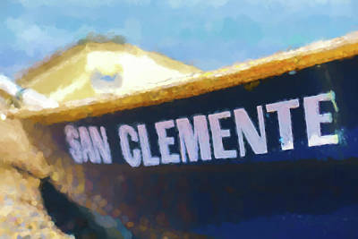 Row Boat Digital Art - San Clemente To The Rescue  Lifeguard Boat Watercolor 1 by Scott Campbell