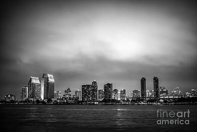 San Diego Bay Photograph - San Diego At Night Black And White Photo by Paul Velgos