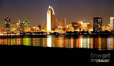 San Diego Skyline With Reflections On Mission Bay Art Print