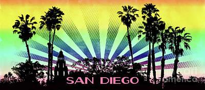 Digital Art - San Diego - Balboa Park Silhouette by Gabriele Pomykaj