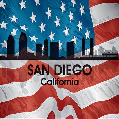 Digital Art - San Diego Ca American Flag Squared by Angelina Vick