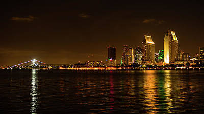 Photograph - San Diego California At Night by Lawrence S Richardson Jr