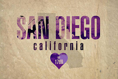 San Diego Mixed Media - San Diego California City Love Established 1789 Series 004 by Design Turnpike