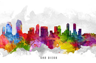 San Diego California Cityscape 13 Art Print by Aged Pixel
