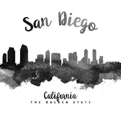 San Diego Digital Art - San Diego California Skyline 18 by Aged Pixel