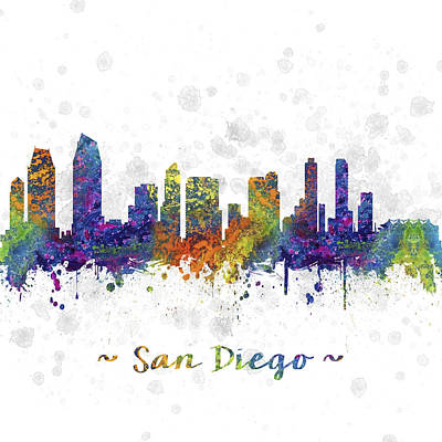 Fathers Day 1 - San Diego California Skyline Color 03SQ by Aged Pixel