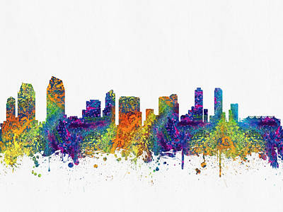 San Diego Digital Art - San Diego California Skyline Color03 by Aged Pixel