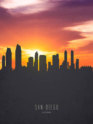 San Diego Digital Art - San Diego California Sunset Skyline 01 by Aged Pixel