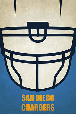 Football Painting - San Diego Chargers Helmet Art by Joe Hamilton