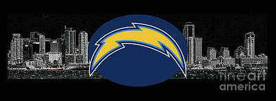 Digital Art - San Diego Chargers by Steven Parker