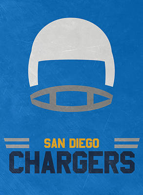 Mixed Media - San Diego Chargers Vintage Art by Joe Hamilton