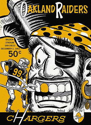 San Diego Chargers Vs Oakland Raiders 1962 Program Art Print by Big 88 Artworks