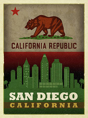San Diego Mixed Media - San Diego City Skyline State Flag Of California Art Poster Series 021 by Design Turnpike