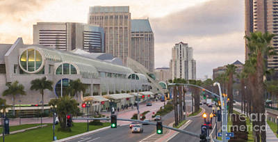 Digital Art - San Diego Conference Center And Downtown by Liz Leyden