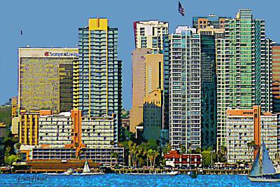 San Diego Downtown Living - Bayside Art Print by Russ Harris