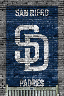 San Diego California Baseball Stadiums Painting - San Diego Padres Brick Wall by Joe Hamilton