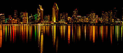 Night Shot Wall Art - Photograph - San Diego Panoramic by Bill Gallagher