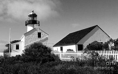Painting - San Diego Point Loma Peninsula Lighthouse In Black And White by Gregory Dyer