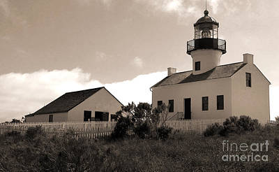 Painting - San Diego Point Loma Peninsula Lighthouse In Sepia by Gregory Dyer