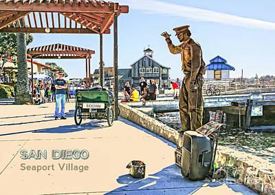San Diego - Seaport Village Scene Art Print