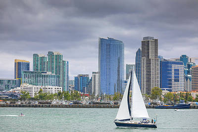 Photograph - San Diego Sky Line And Yacht by Hyuntae Kim