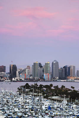 San Diego Skyline And Marina At Dusk Art Print by Jeremy Woodhouse