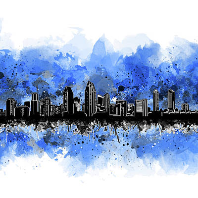 Abstract Skyline Royalty-Free and Rights-Managed Images - San Diego Skyline Artistic 3 by Bekim Art
