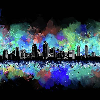 Digital Art - San Diego Skyline Artistic 4 by Bekim Art