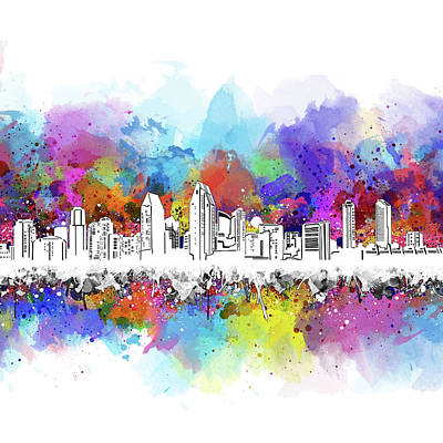 Digital Art - San Diego Skyline Artistic by Bekim Art