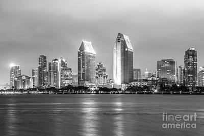 San Diego Skyline At Night Black And White Photo Art Print
