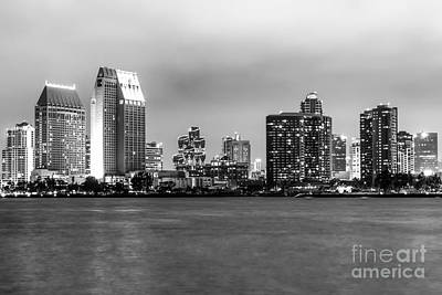 San Diego Bay Photograph - San Diego Skyline At Night Black And White Picture by Paul Velgos