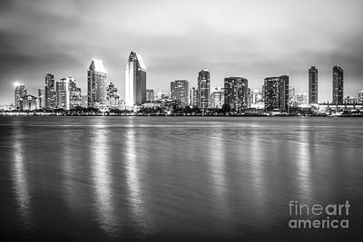 San Diego Bay Photograph - San Diego Skyline Black And White Photo by Paul Velgos
