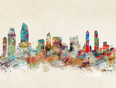 Painting - San Diego Skyline by Bleu Bri