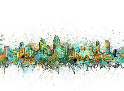 Abstract Skyline Royalty-Free and Rights-Managed Images - San Diego Skyline Color Splatter 2 by Bekim Art