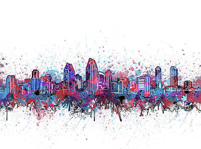 Abstract Skyline Royalty-Free and Rights-Managed Images - San Diego Skyline Color Splatter by Bekim Art