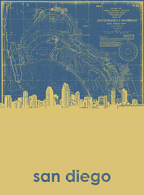 Abstract Skyline Royalty-Free and Rights-Managed Images - San Diego Skyline Map 2 by Bekim Art
