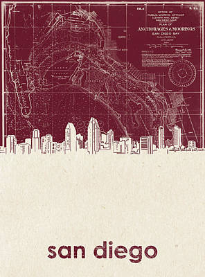 Abstract Skyline Royalty-Free and Rights-Managed Images - San Diego Skyline Map 3 by Bekim Art
