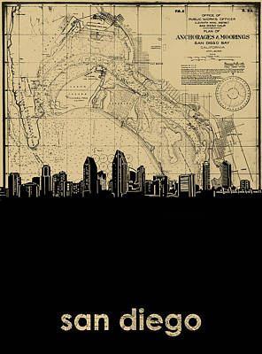 Abstract Skyline Royalty-Free and Rights-Managed Images - San Diego Skyline Map by Bekim Art