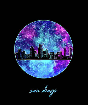 Abstract Skyline Royalty-Free and Rights-Managed Images - San Diego Skyline Minimalism 10 by Bekim Art