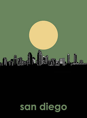 Abstract Skyline Royalty-Free and Rights-Managed Images - San Diego Skyline Minimalism 2 by Bekim Art