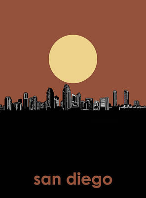 Digital Art - San Diego Skyline Minimalism 3 by Bekim Art