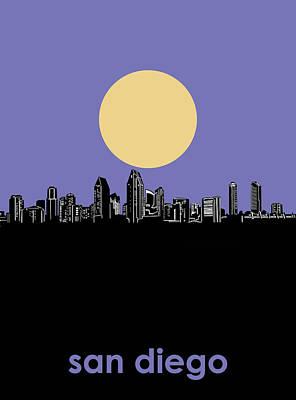 Digital Art - San Diego Skyline Minimalism 4 by Bekim Art